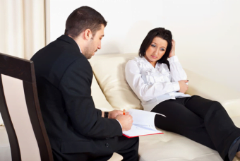 A Hypnotherapy Consultation taking place between Therapist and Client